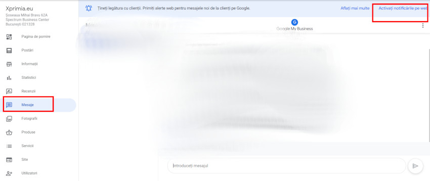 mesaje pe google my business profil companie